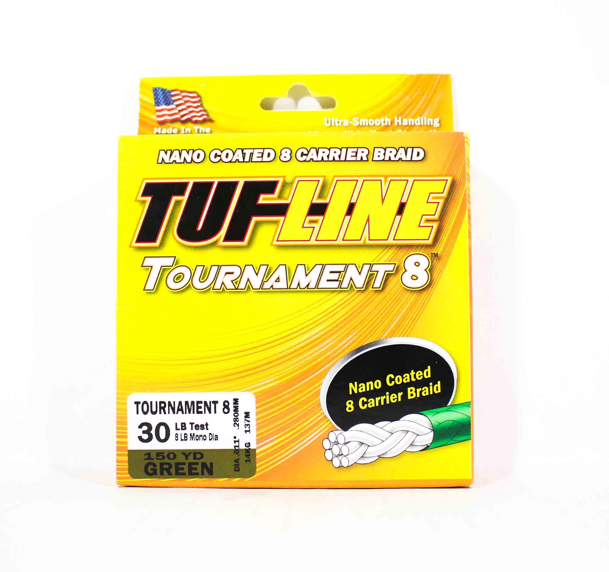 Sale Tufline Tournament 8 Nano Coated Braided Line 30lb 150yds Green (1651)