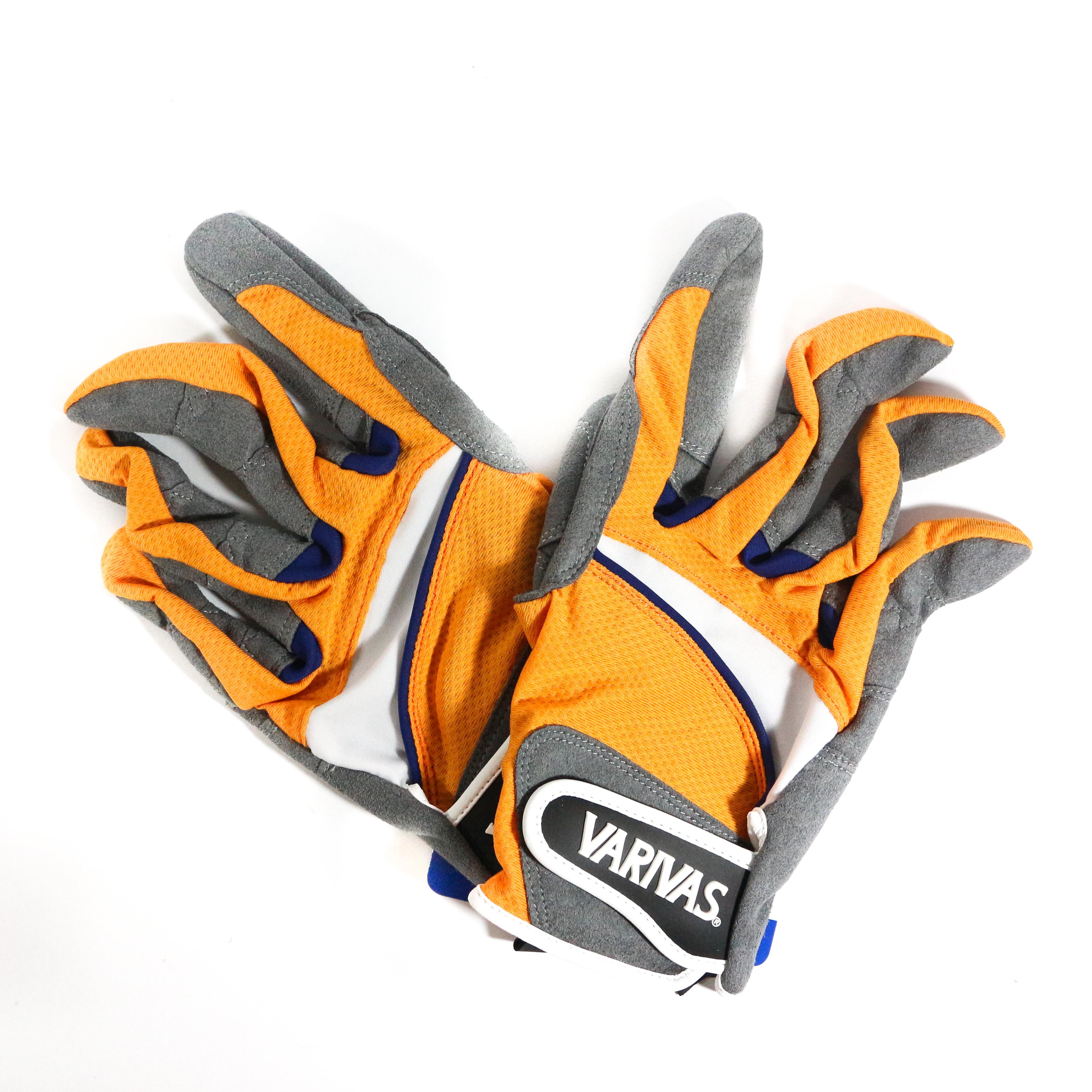 Varivas VAG-20 Mesh Gloves Ergo Grip Orange Size L (0566)