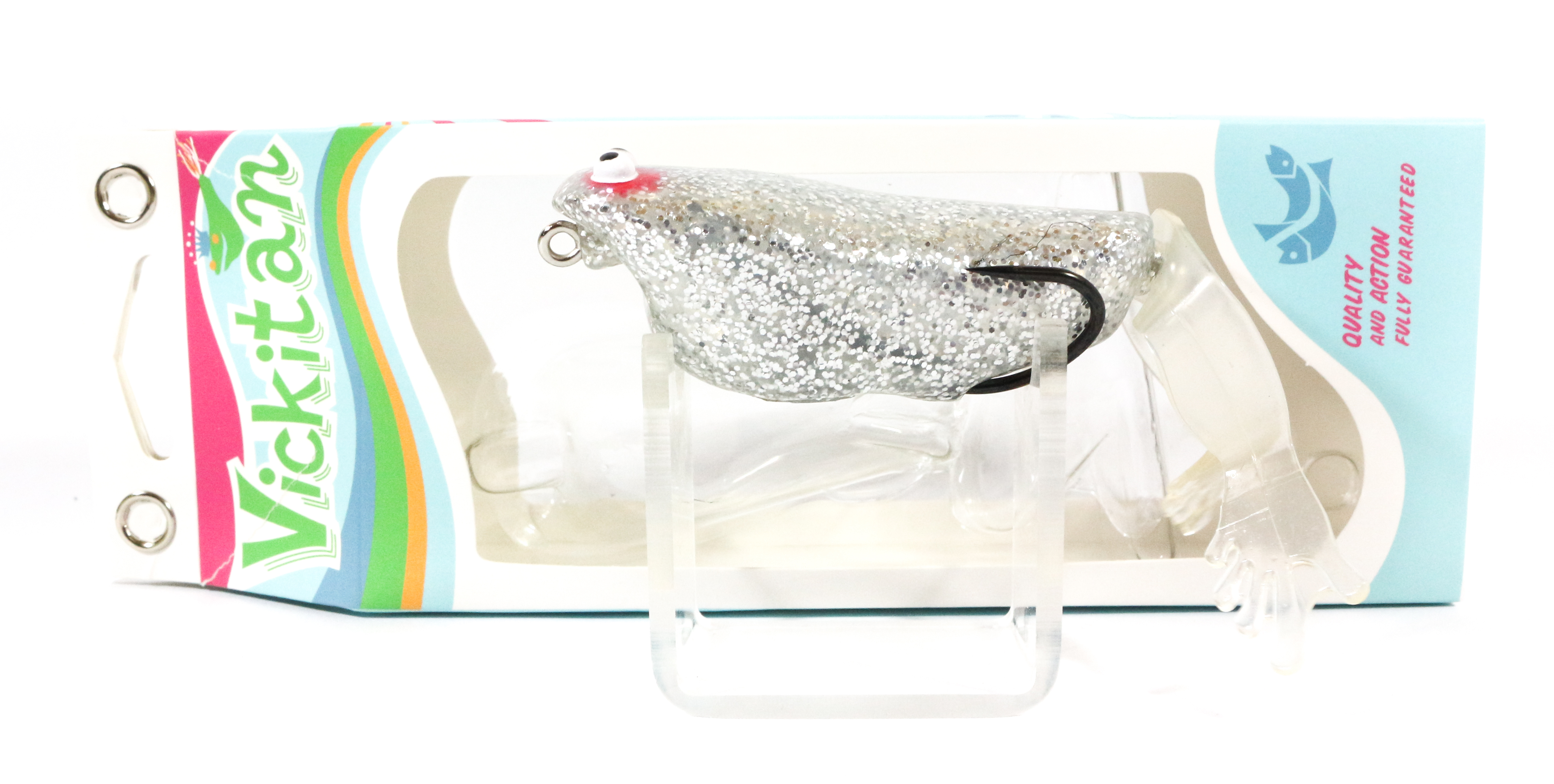 Sale Vickitan PVC Legs Topwater Soft Frog Lure Silver Glitter (0797)