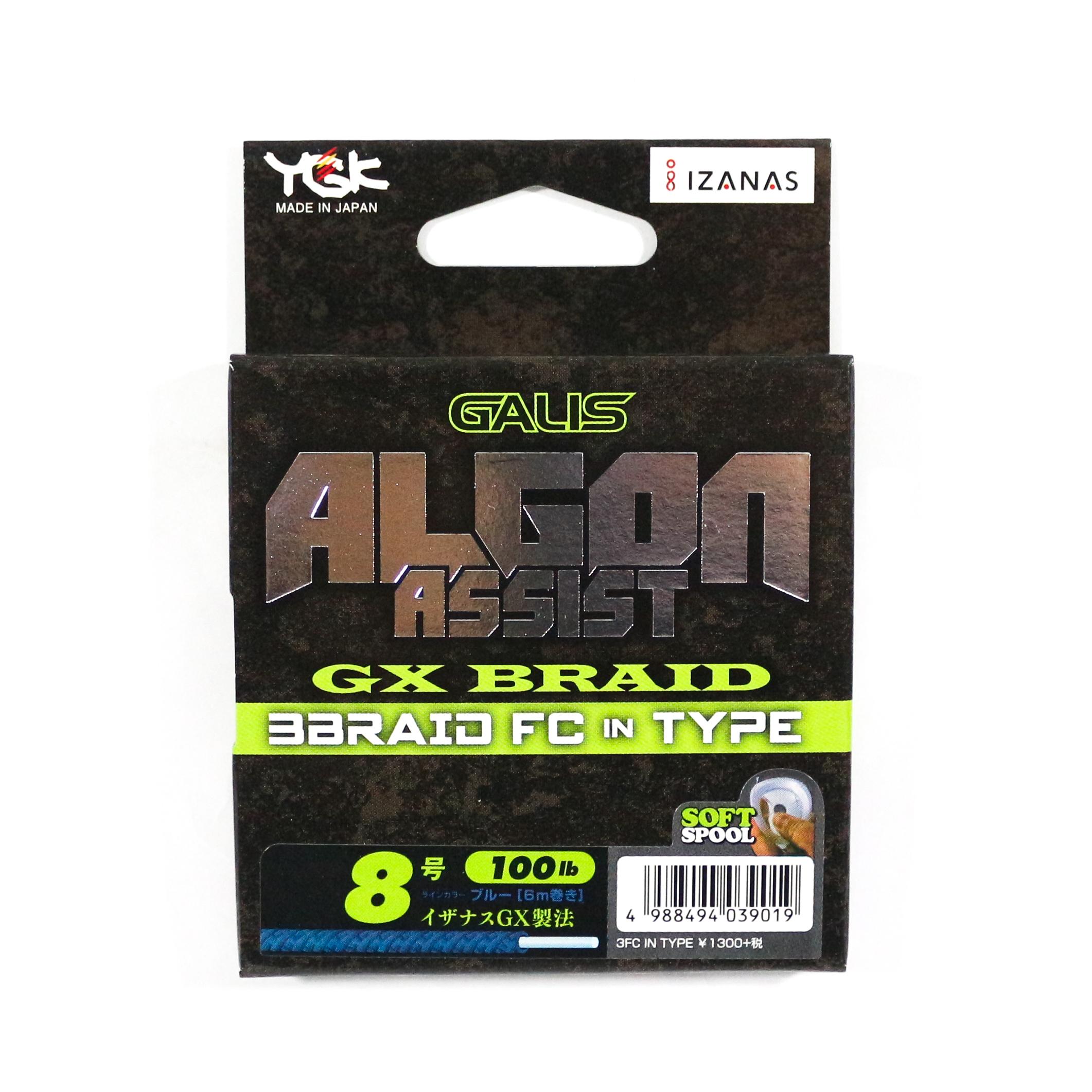 YGK Algon Assist GX Braid FC In Type 6m Size 8, 100lb Blue (9019)