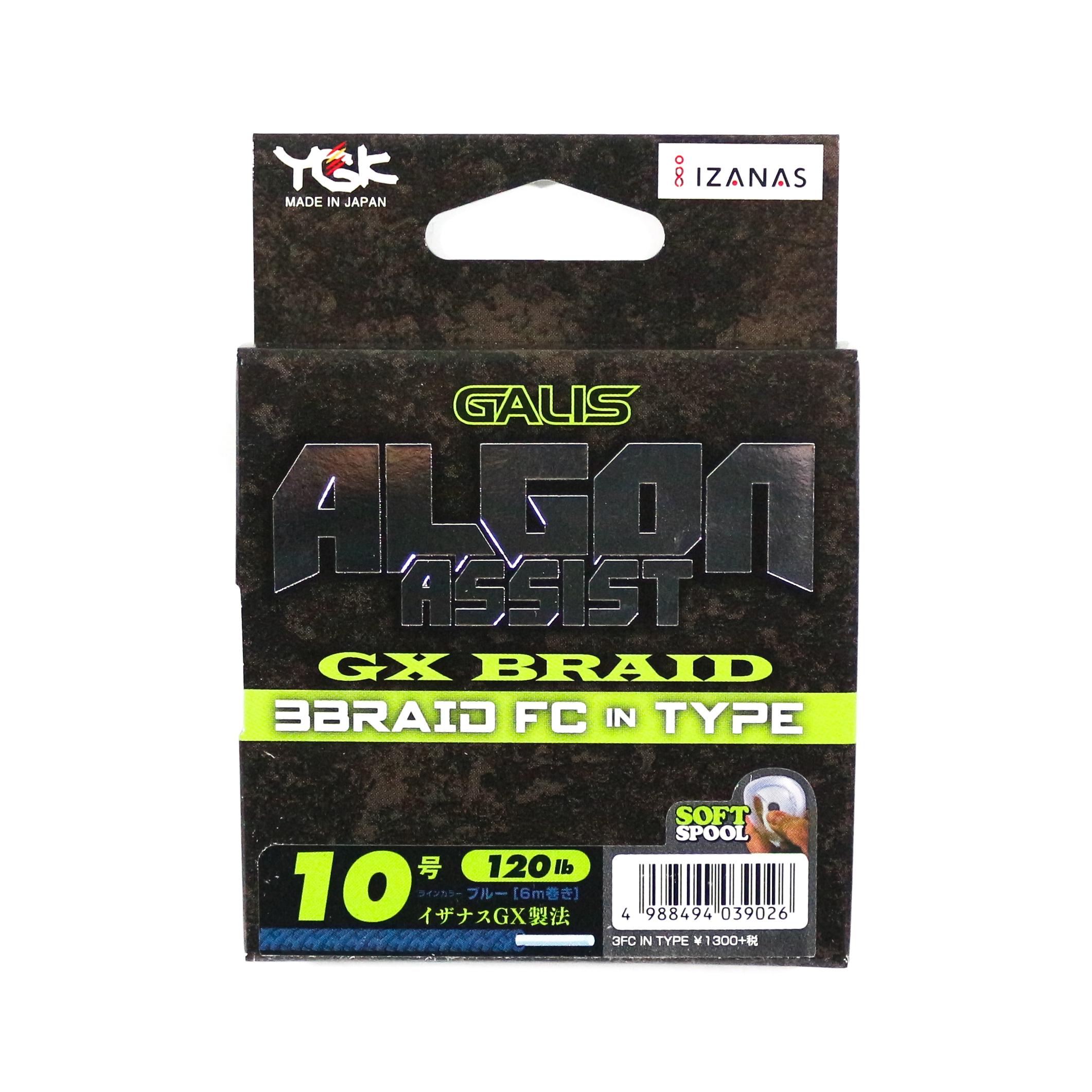 YGK Algon Assist GX Braid FC In Type 6m Size 10, 120lb Blue (9026)