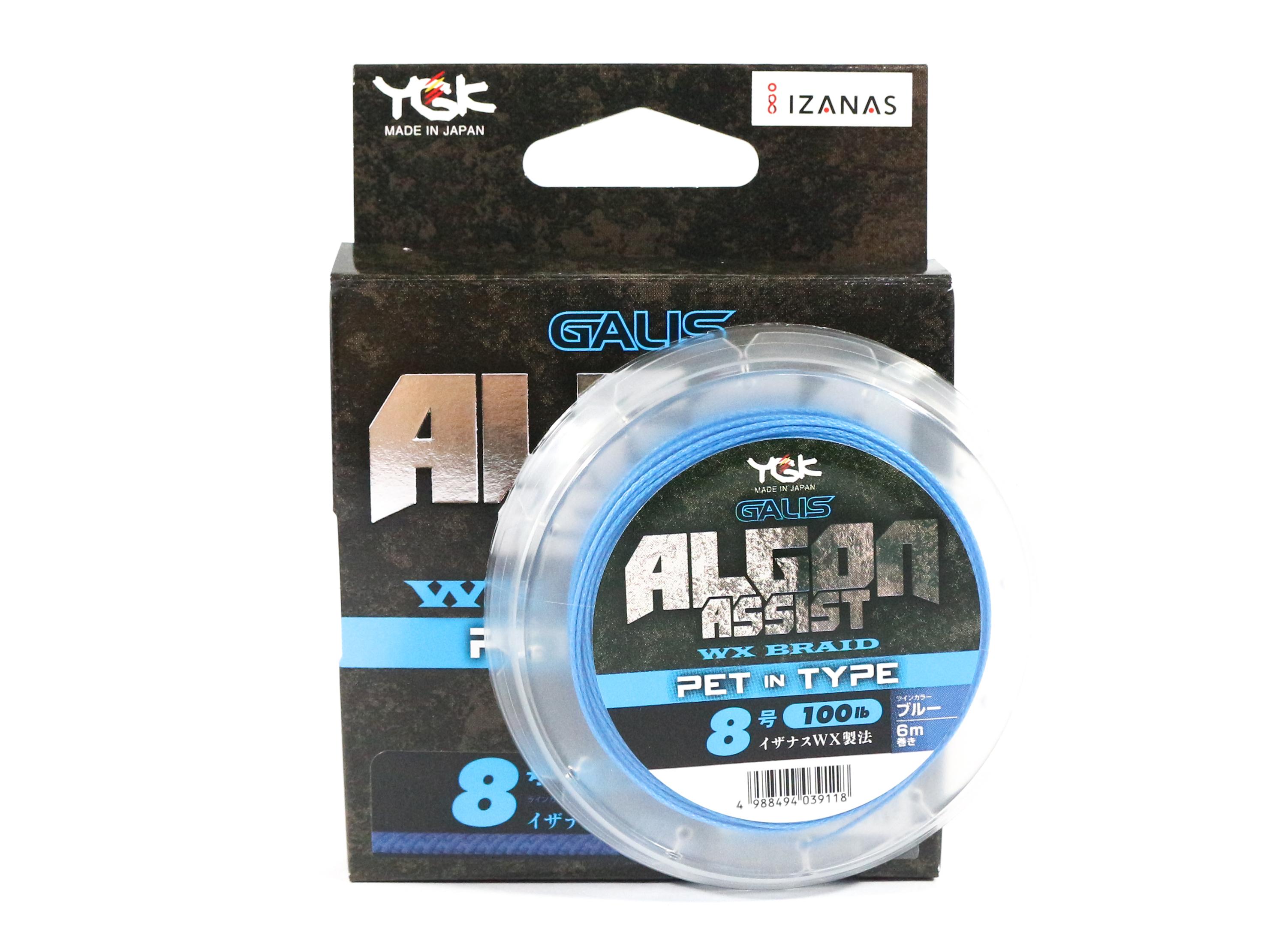 YGK Algon Assist WX Braid PET in Type 6m Size 8, 100lb Blue (9118)