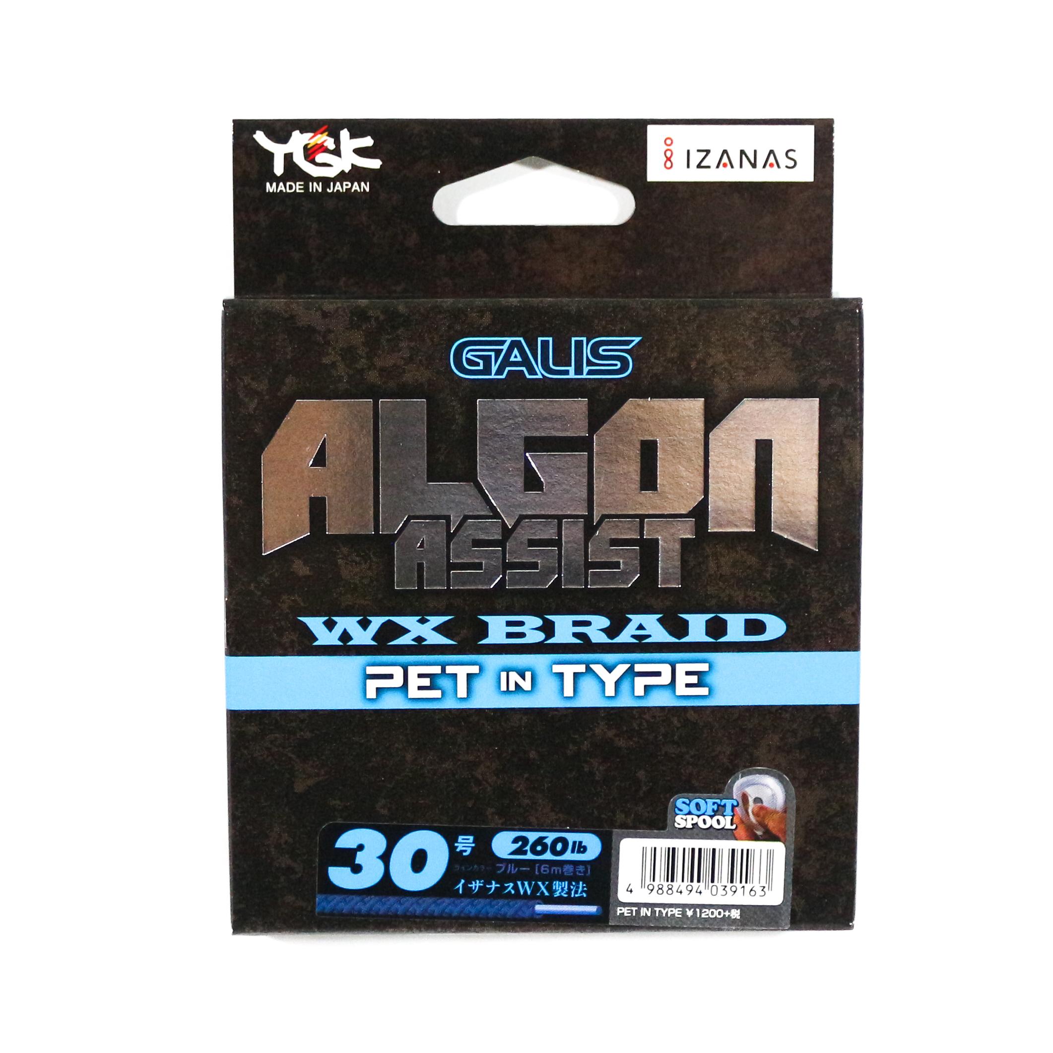 YGK Algon Assist WX Braid PET in Type 6m Size 30, 260lb Blue (9163)