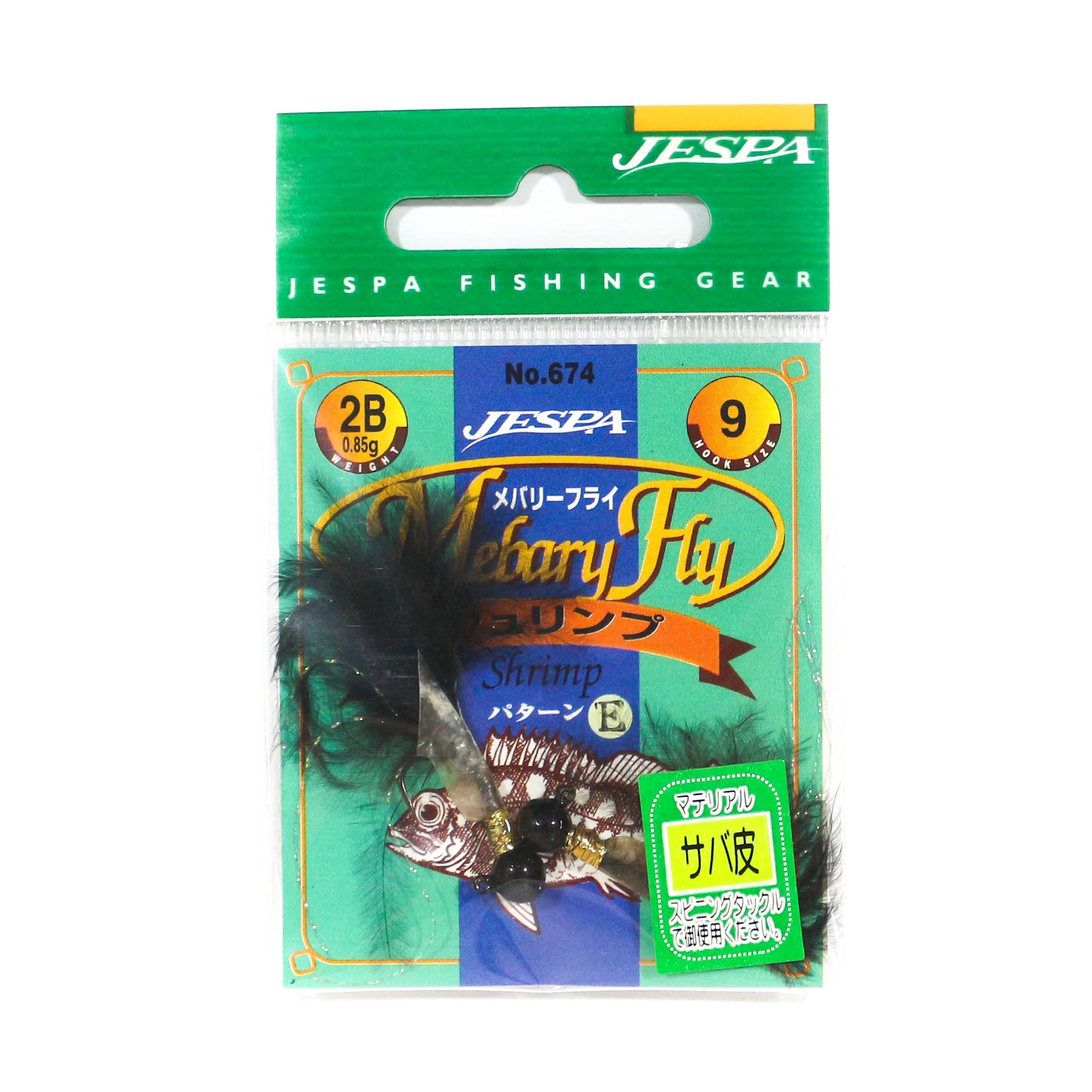 Yarie Jespa M. 674 Mebaru Fly Jig Head 2 per pack Black 0.85 gram Size 9 (1548)