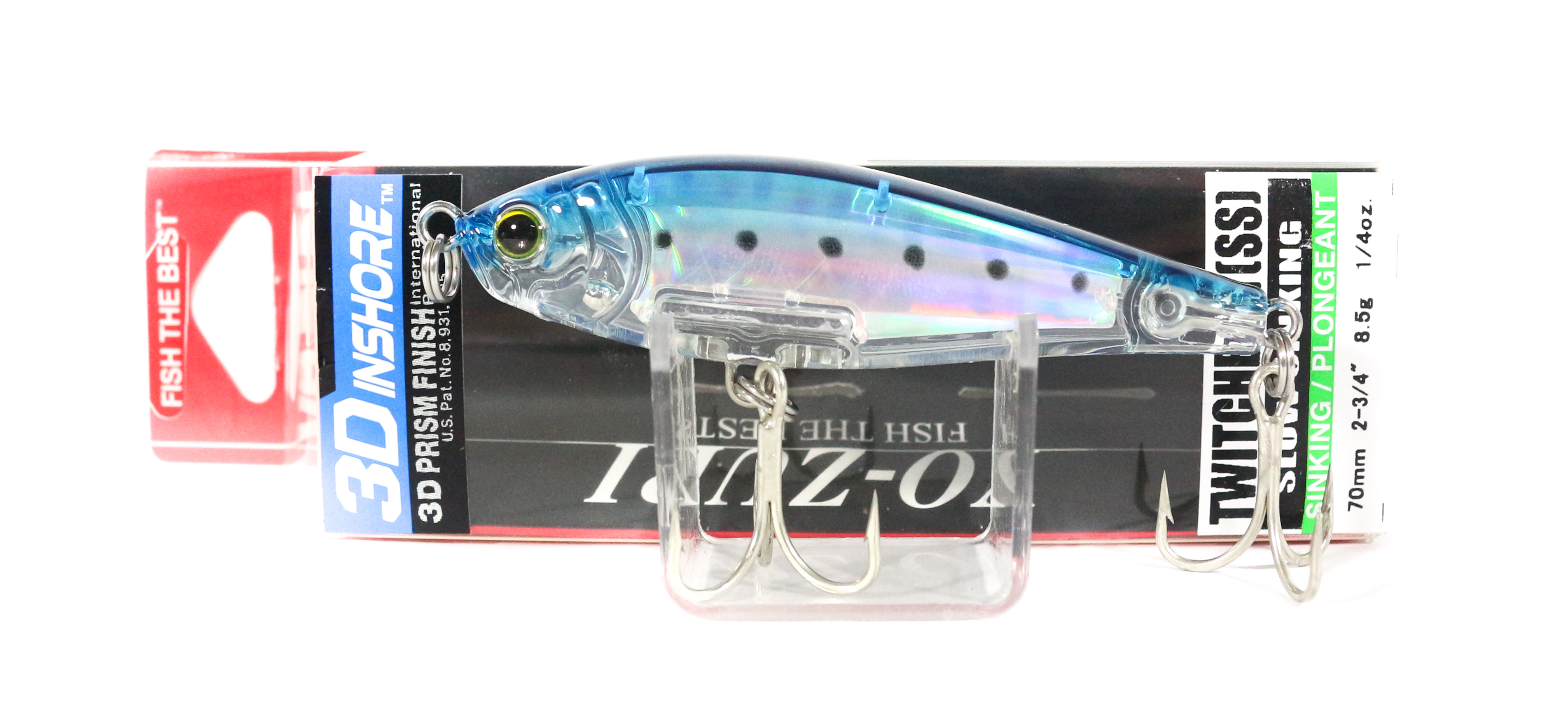 Yo Zuri Duel 3D Inshore Twitchbait 70SS Slow Sinking Lure R1207-GHIW (6978)