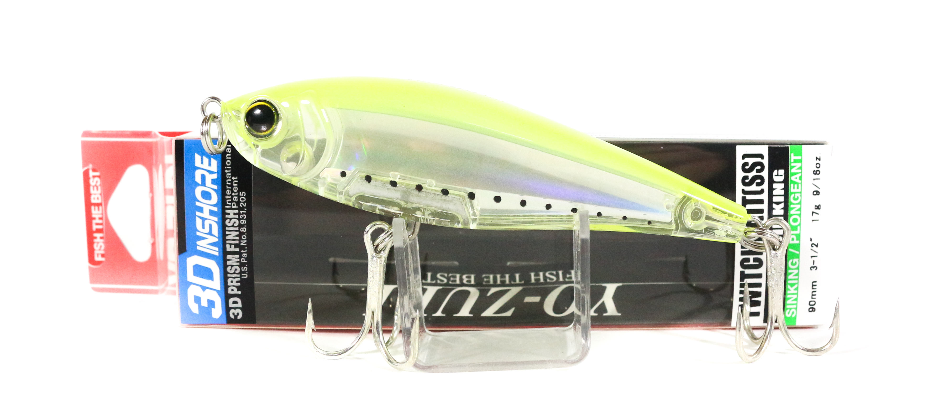Yo Zuri Duel 3D Inshore Twitchbait 90SS Slow Sinking Lure R1208-GHCS (7043)