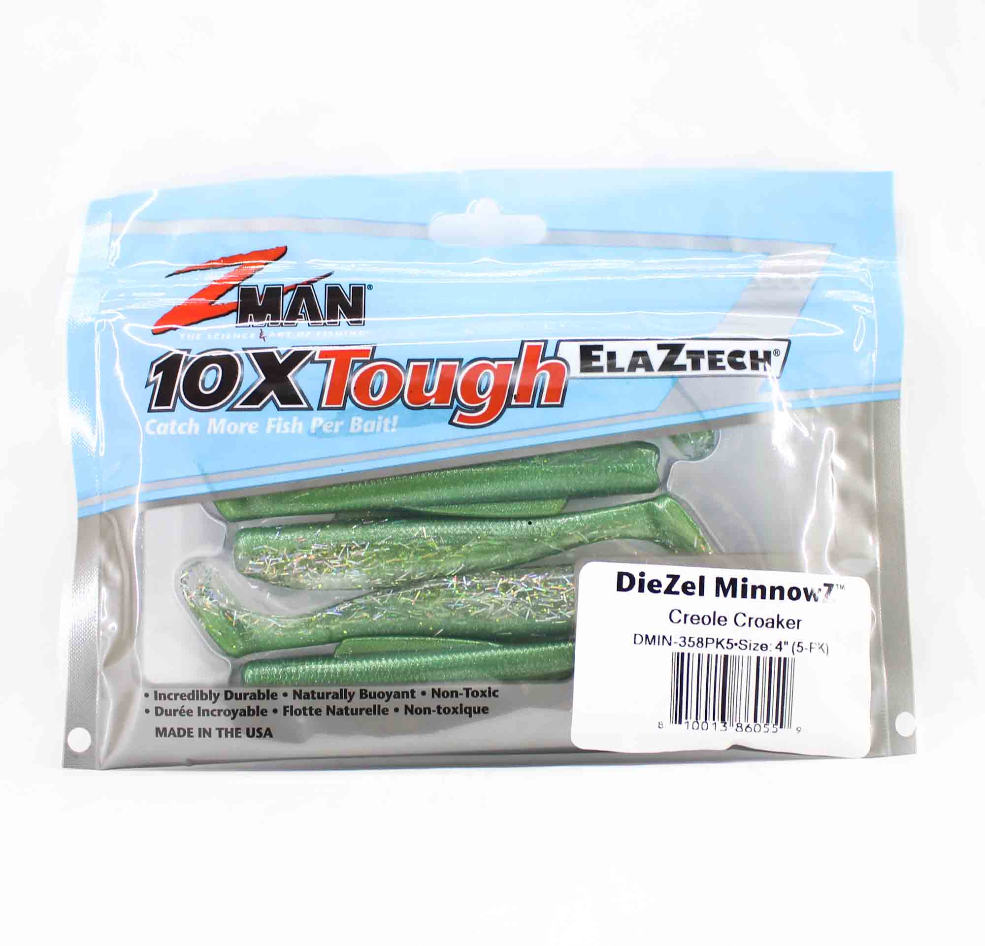 Zman Soft Lure Diezel MinnowZ 4 Inch 5 per pack Creole Croaker (0559)