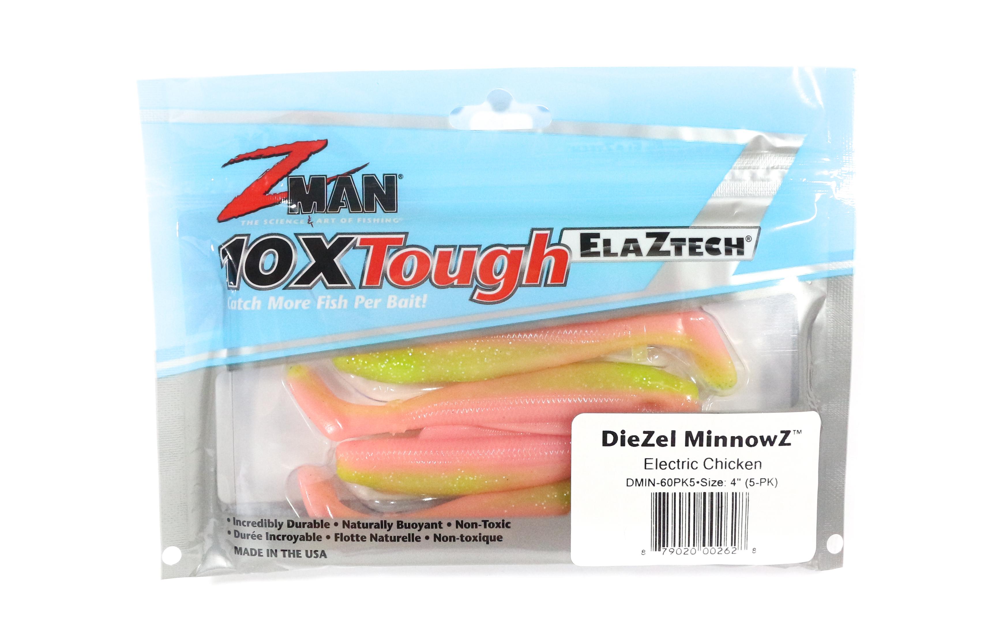 Zman Soft Lure Diezel MinnowZ 4 Inch 5 per pack Electric Chicken (2628)
