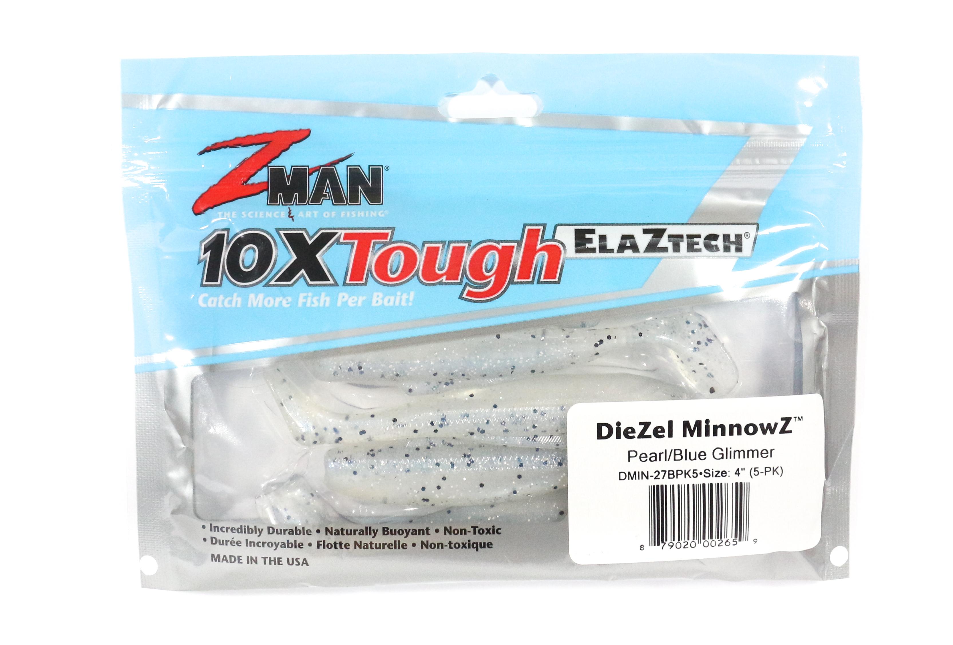 Zman Soft Lure Diezel MinnowZ 4 Inch 5 per pack Pearl Blue Glimmer (2659)