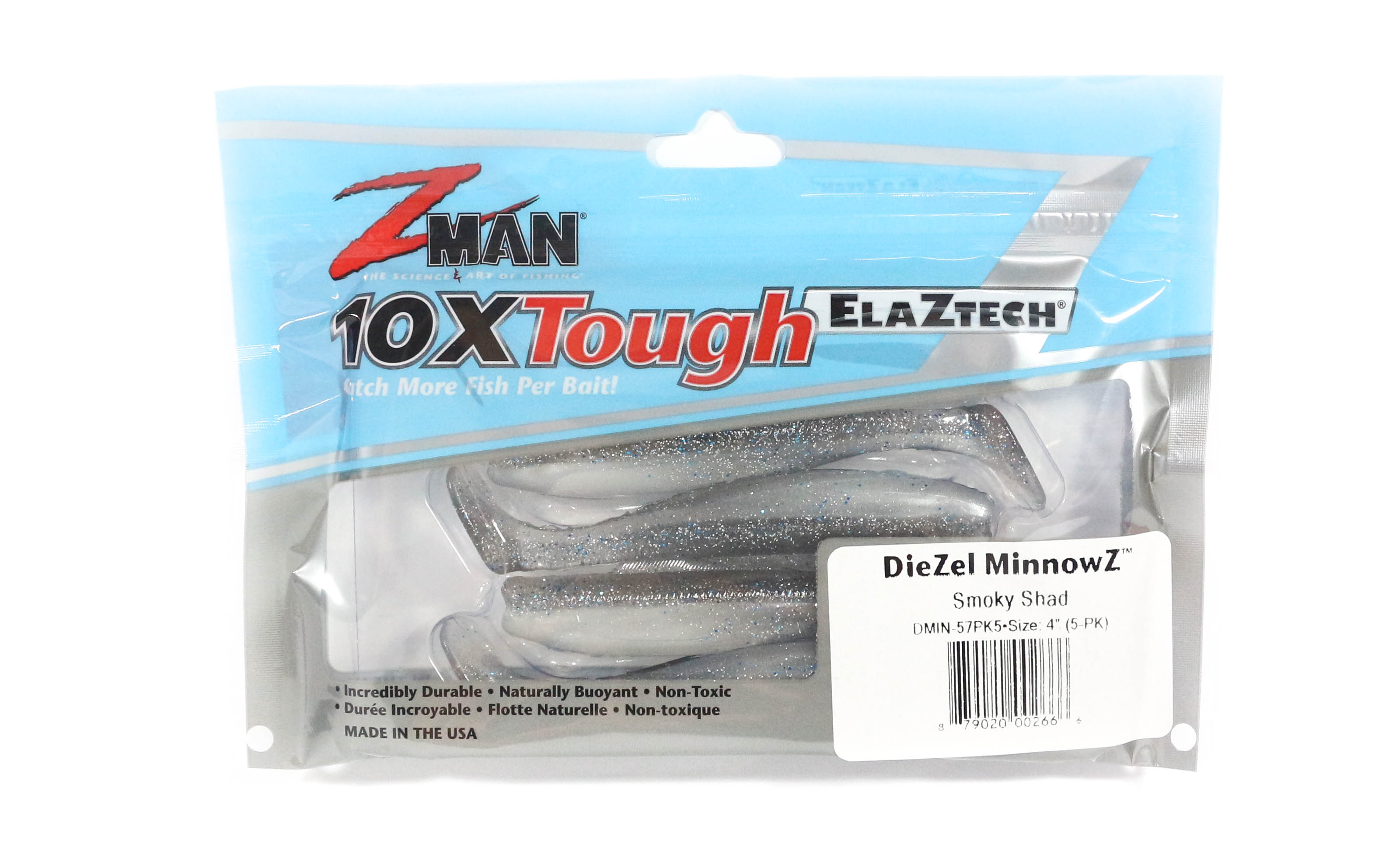 Zman Soft Lure Diezel MinnowZ 4 Inch 5 per pack Smoky Shad (2666)