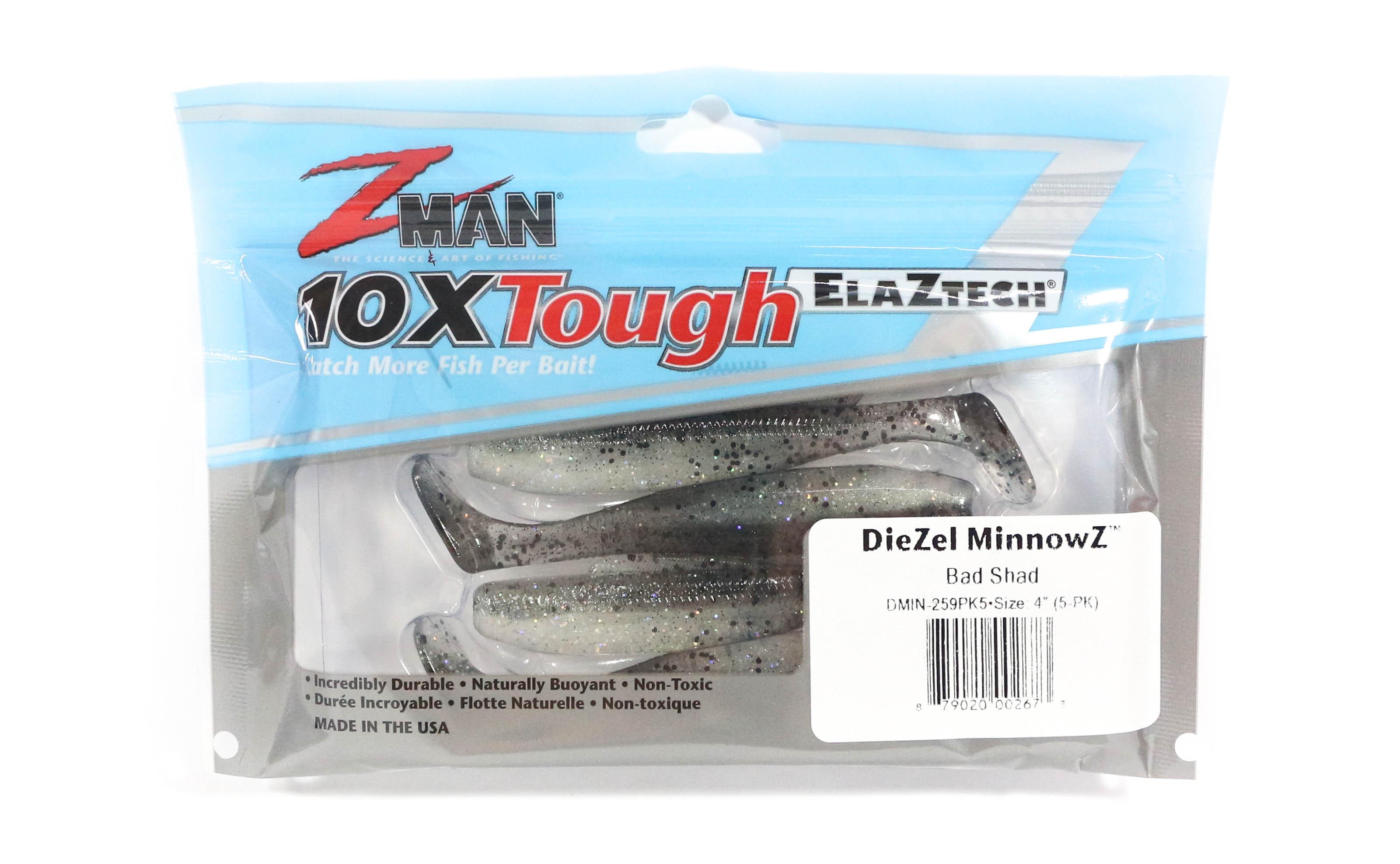 Zman Soft Lure Diezel MinnowZ 4 Inch 5 per pack Bad Shad (2673)