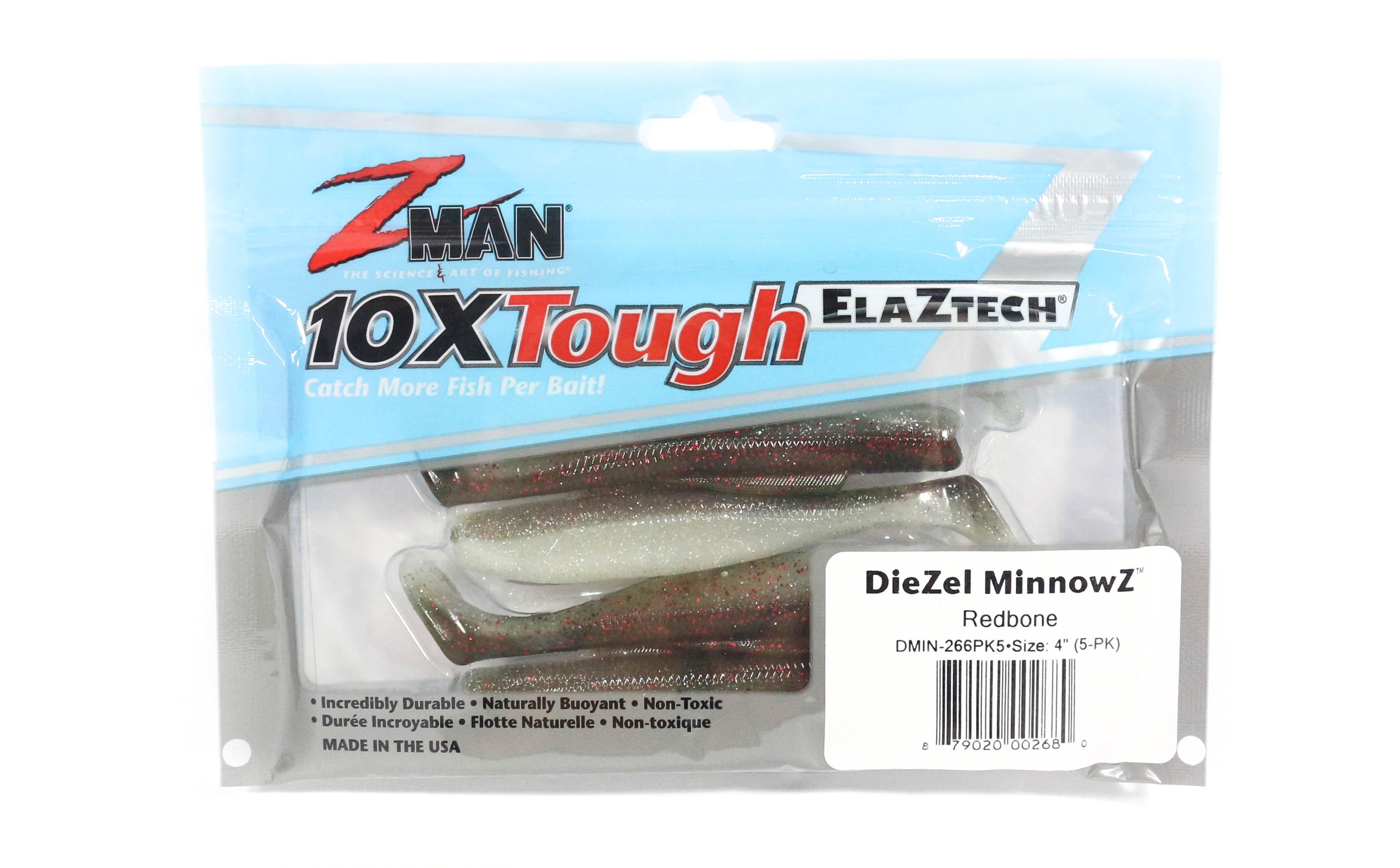 Zman Soft Lure Diezel MinnowZ 4 Inch 5 per pack Red Bone (2680)