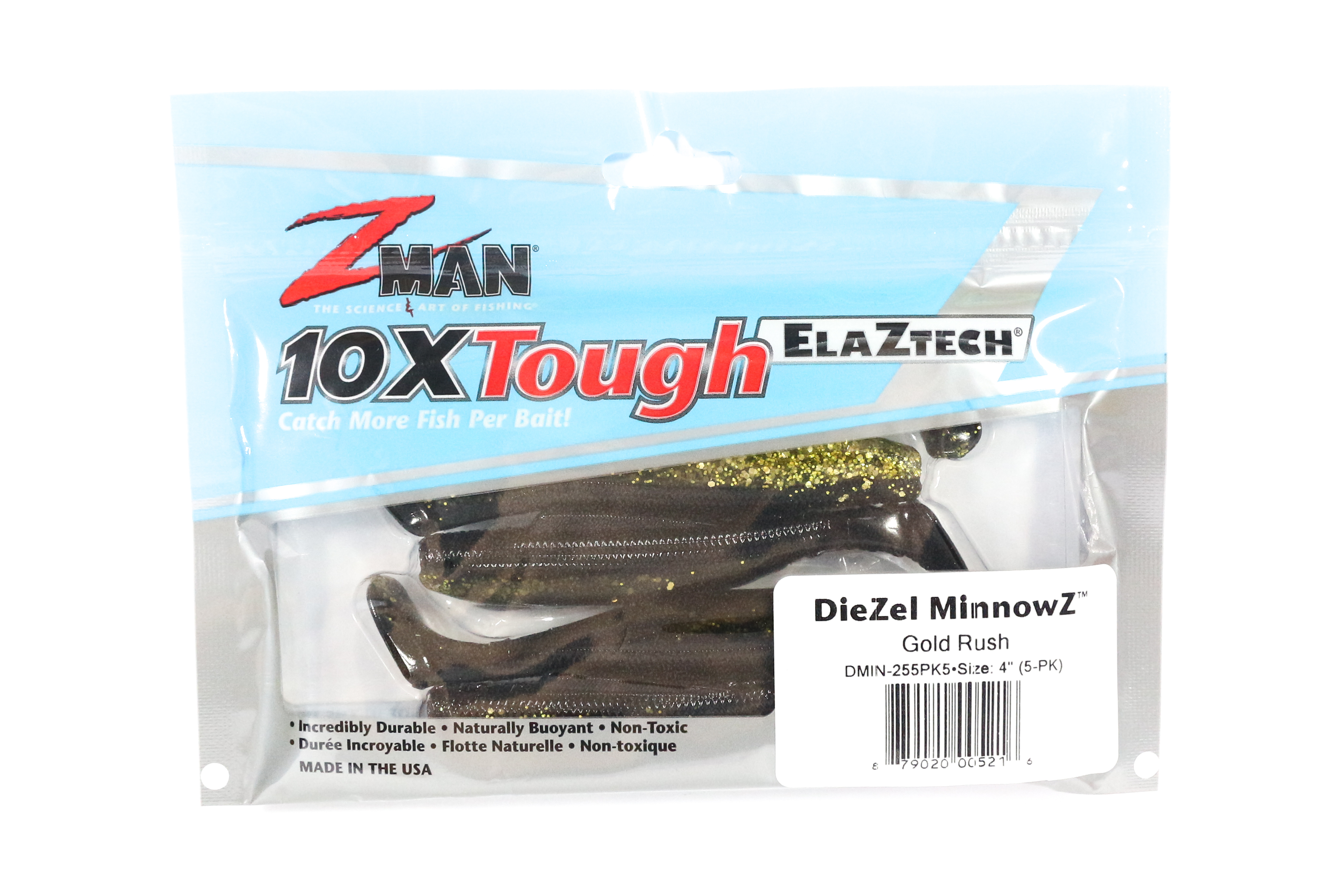 Zman Soft Lure Diezel MinnowZ 4 Inch 5 per pack Gold Rush (5216)