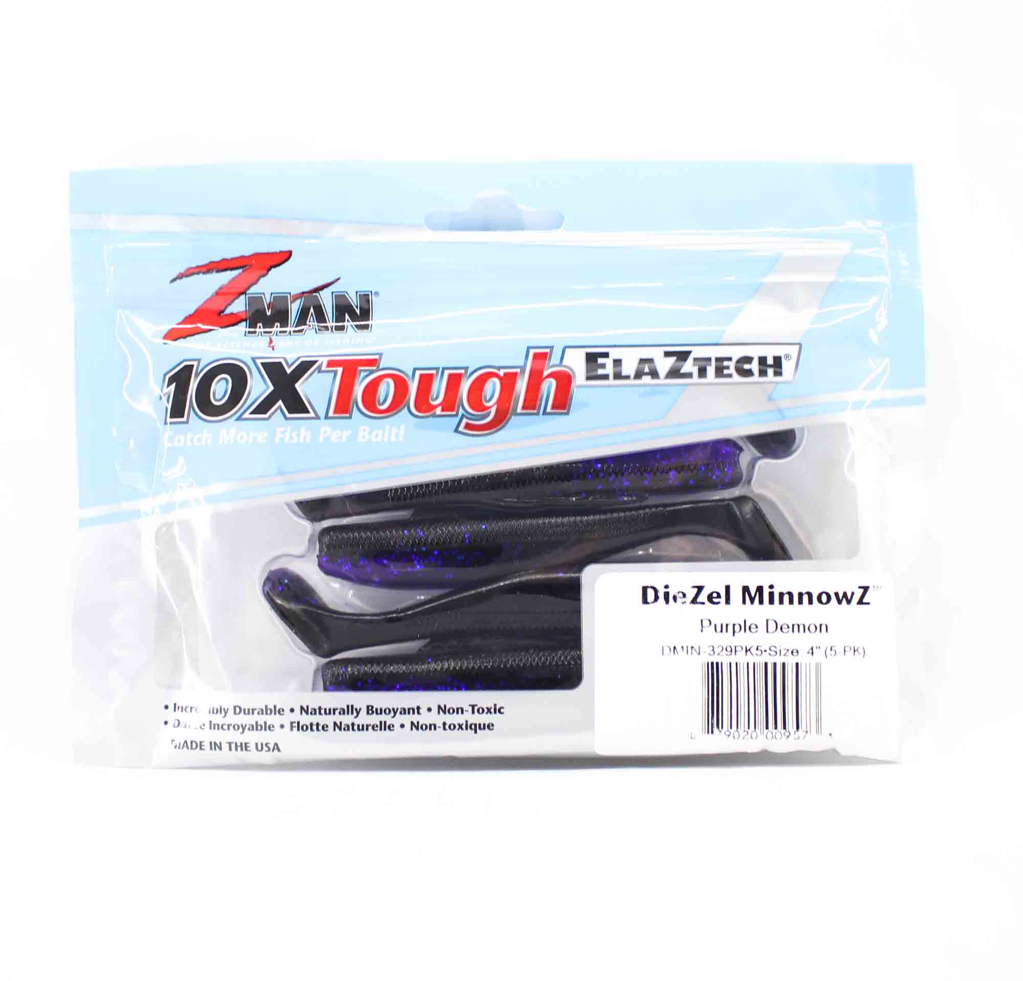 Zman Soft Lure Diezel MinnowZ 4 Inch 5 per pack Purple Demon (9573)