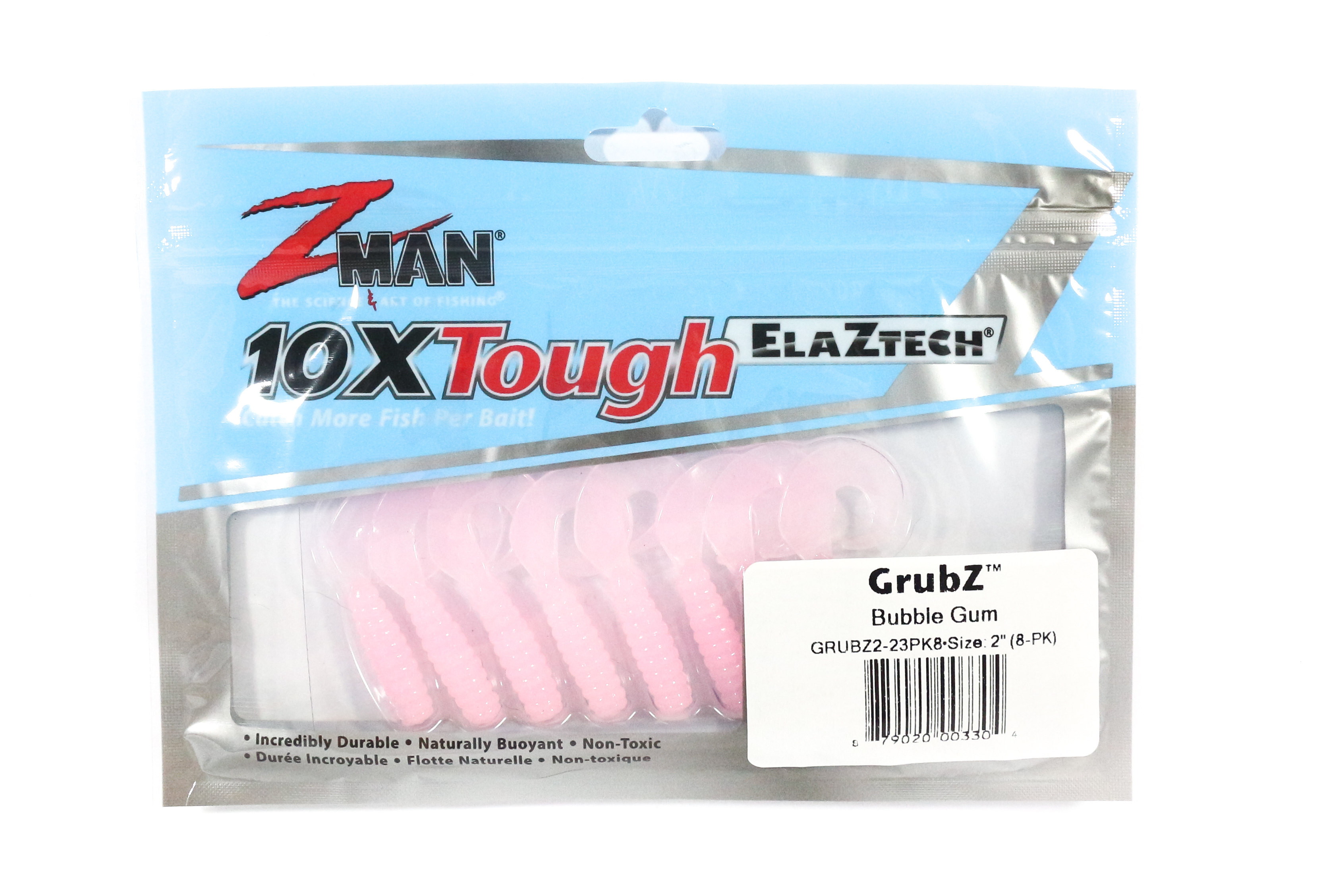 Zman Soft Lure GrubZ 2 Inch 8 per pack Bubblegum (3304)