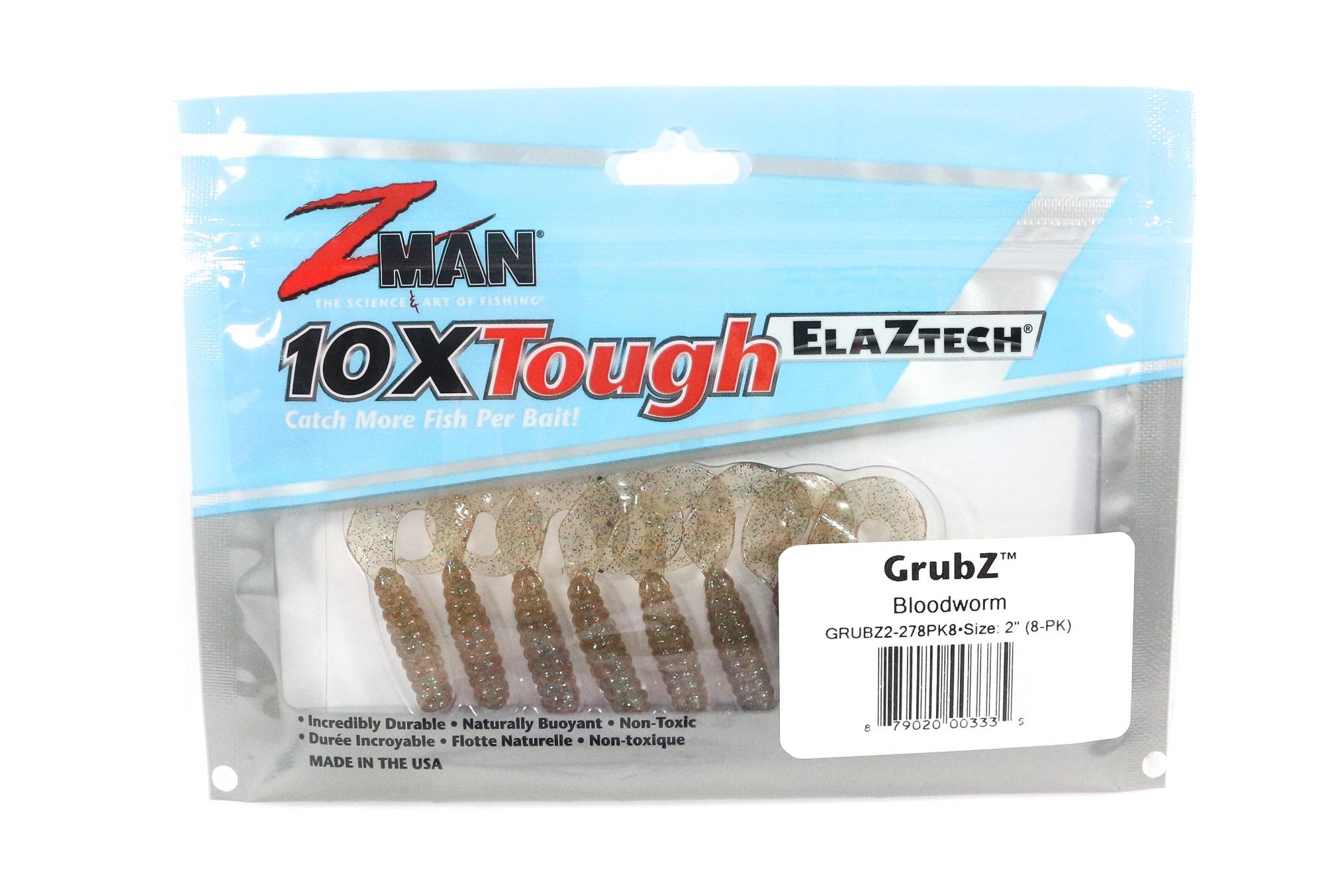Zman Soft Lure GrubZ 2 Inch 8 per pack Blood Worm (3335)