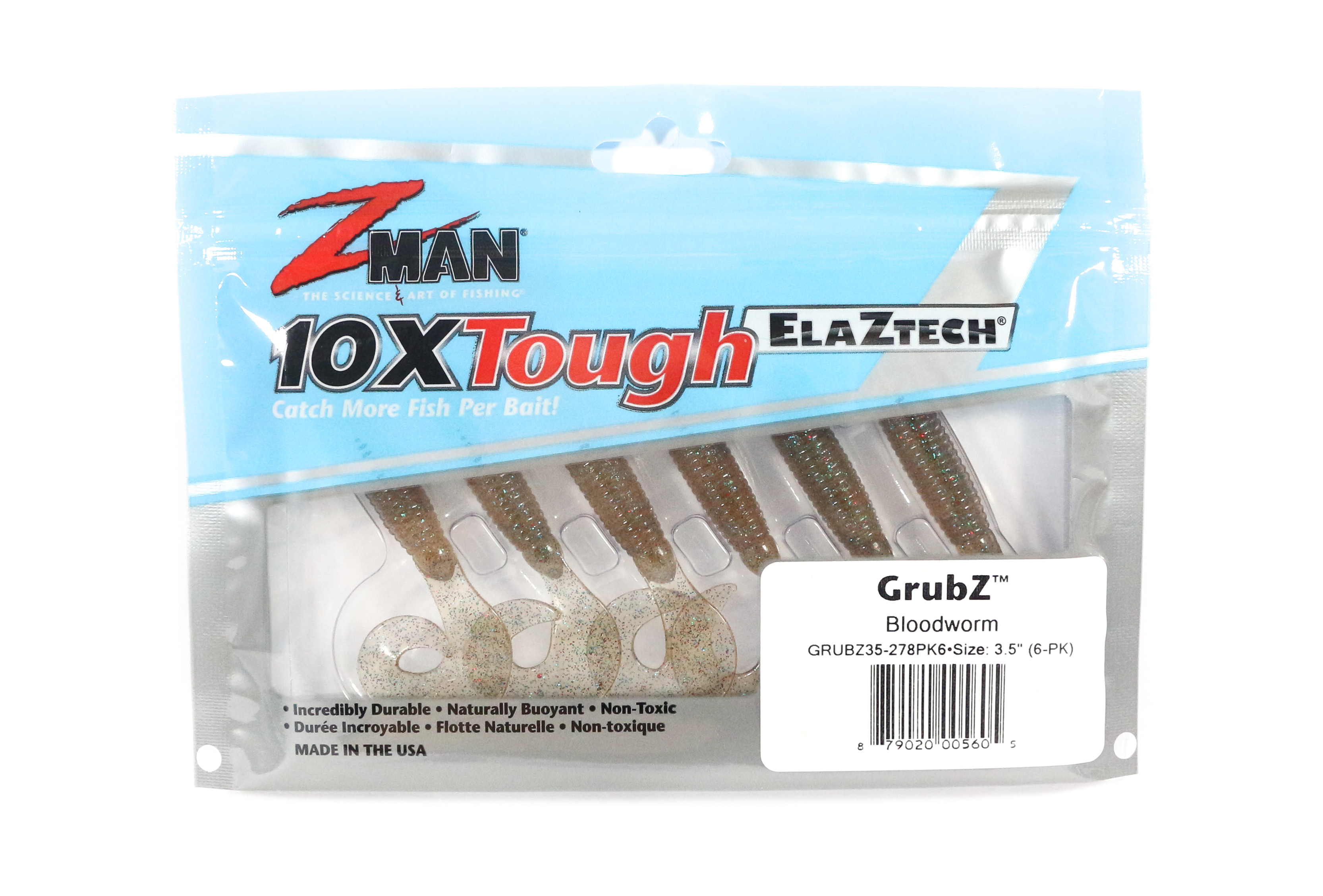 Zman Soft Lure GrubZ 3.5 Inch 6 per pack Blood Worm (5605)