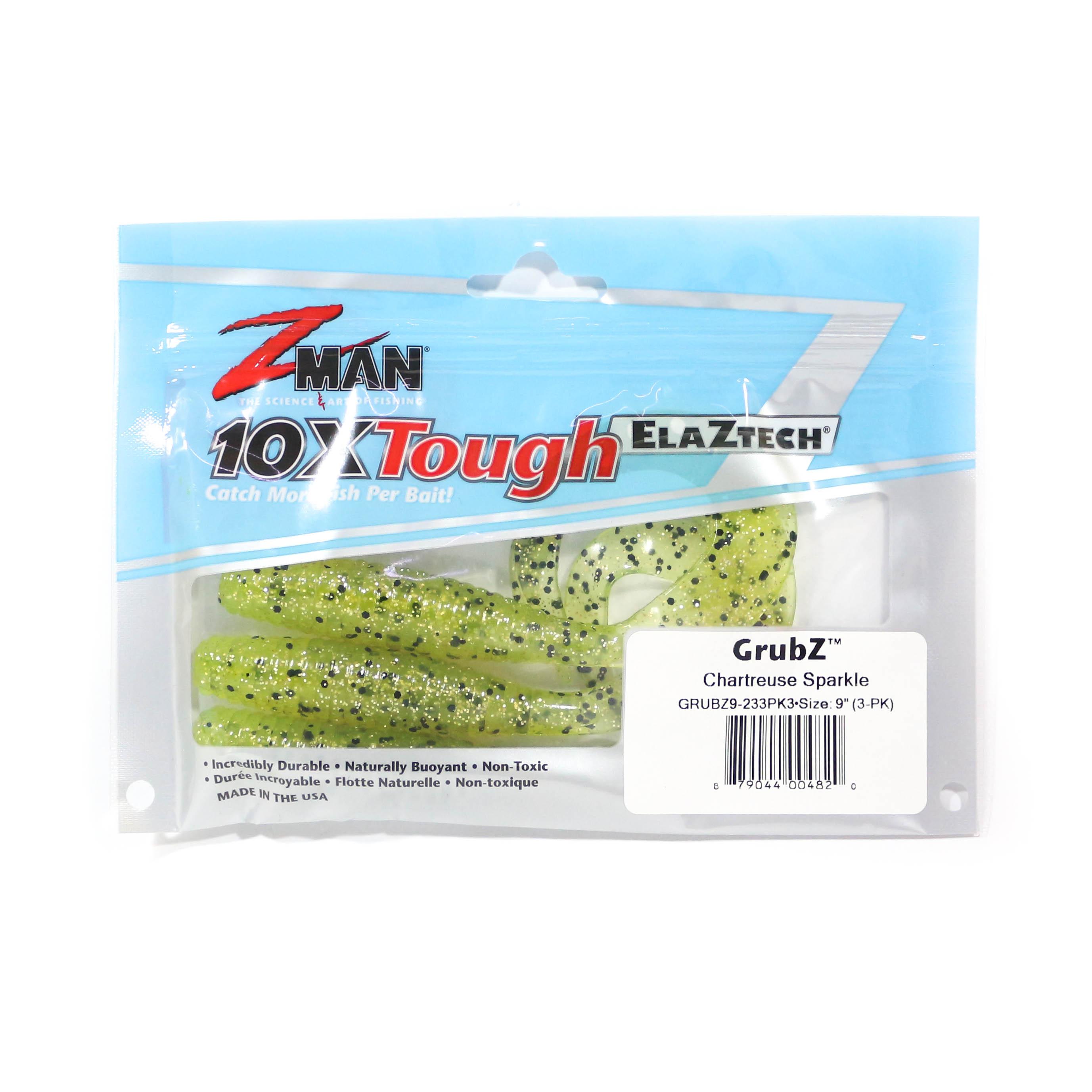 Zman Soft Lure GrubZ 9 Inch 3 per pack Chartreuse Sparkle (4820)