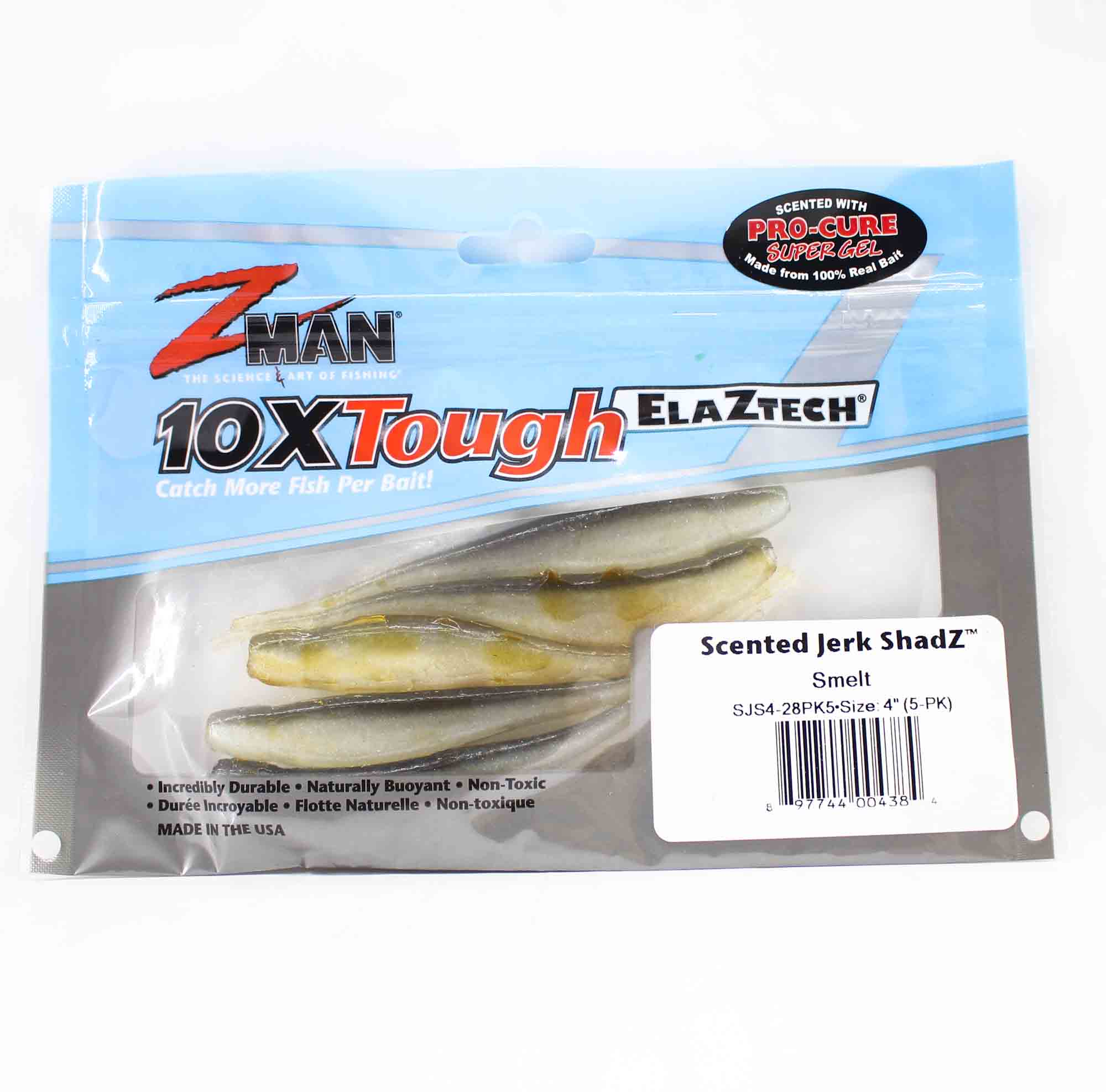 Zman Soft Lure Jerk ShadZ 4 Inch 5 per pack Smelt (4384)