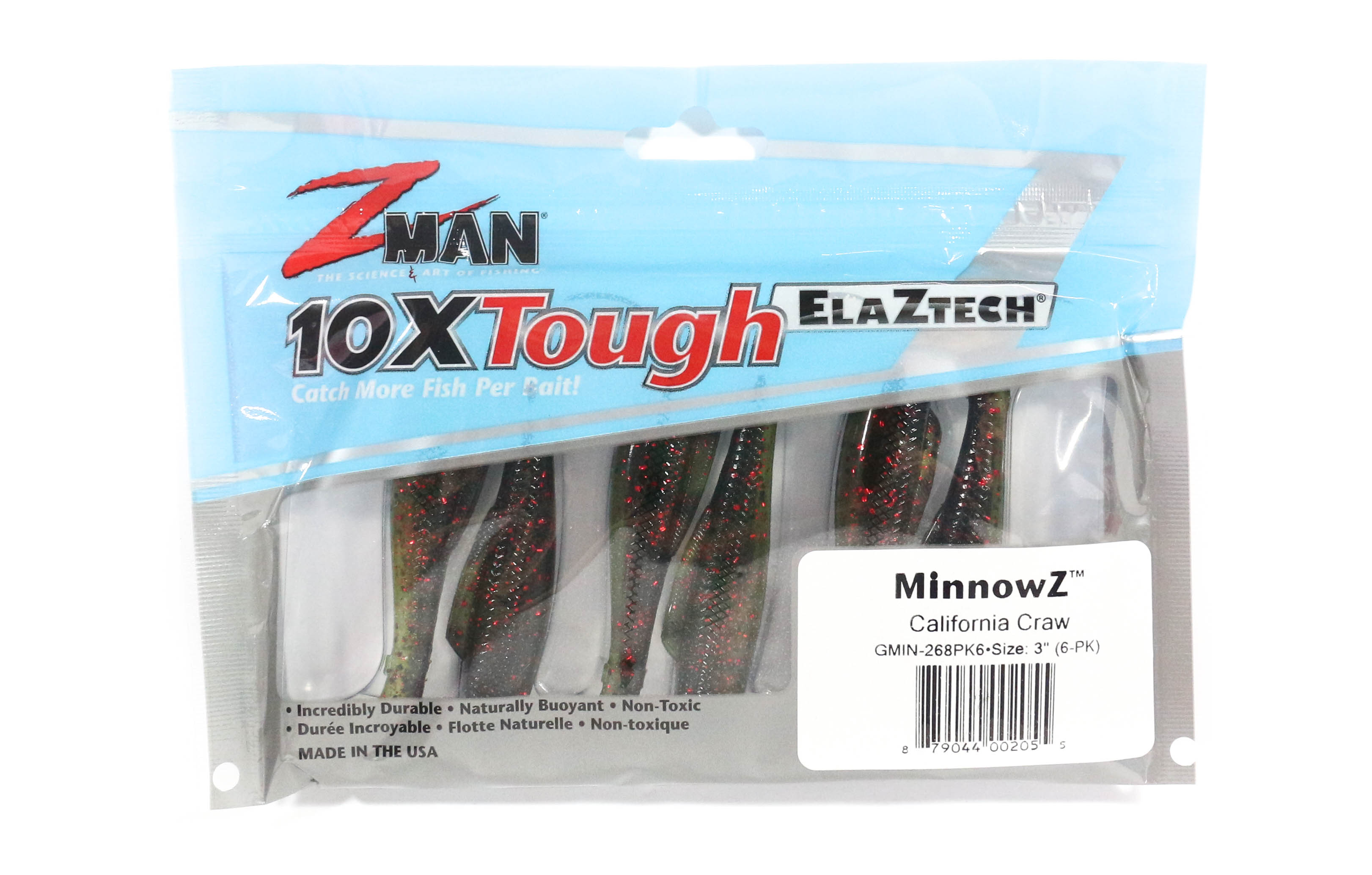 Zman Soft Lure MinnowZ 3 Inch 6 per pack California Craw (2055)