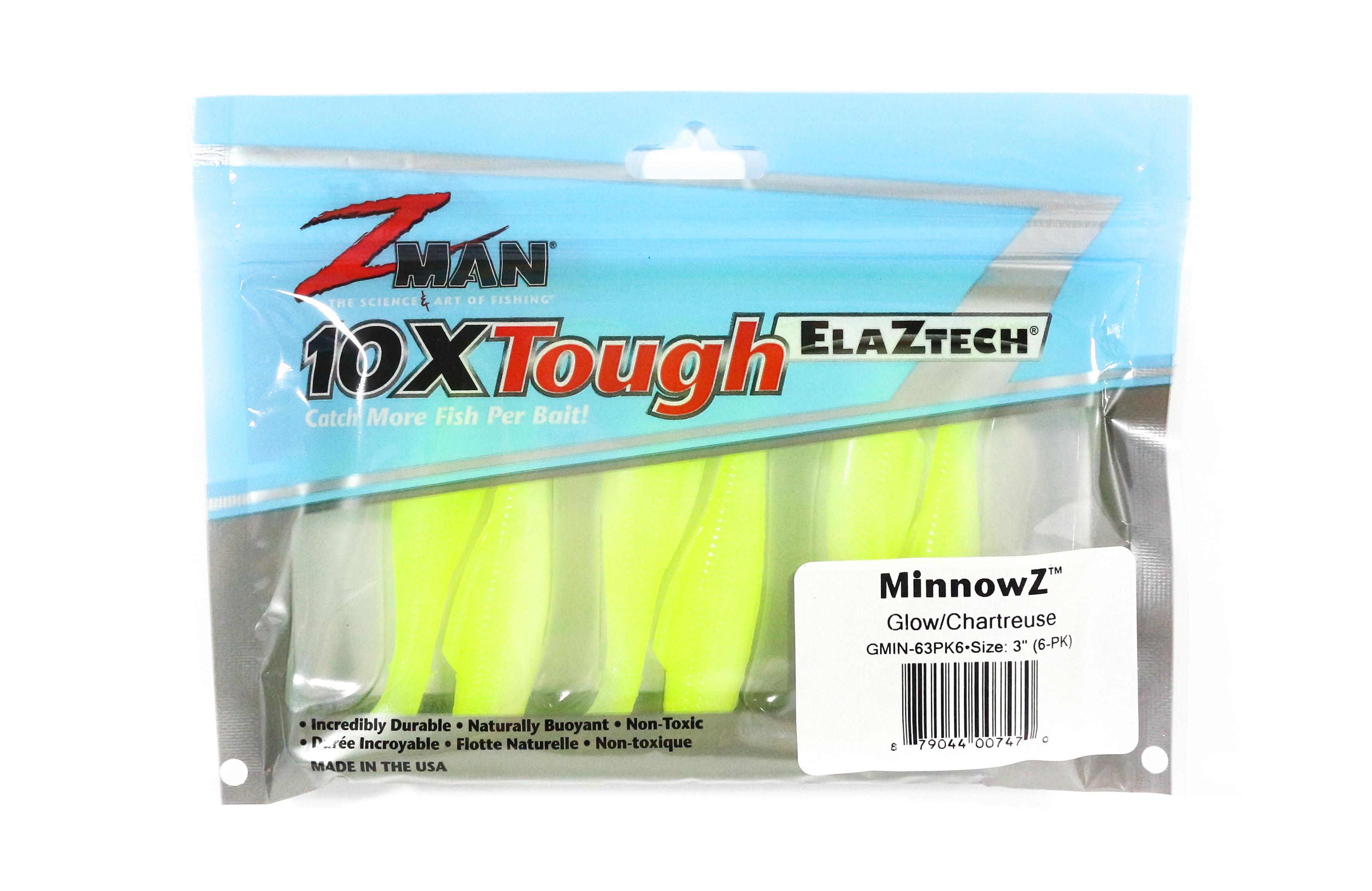 Zman Soft Lure MinnowZ 3 Inch 6 per pack Chart Glow (7470)