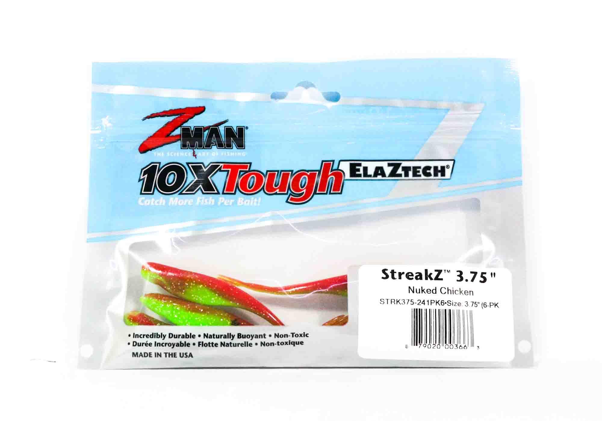 3663 Zman Soft Köder StreakZ 3.75 Zoll 6 per pack Nuked Chicken Glow
